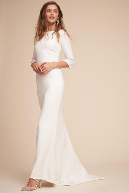 Long sleeve wedding dresses long cap sleeve bhldn bacall gown bacall gown junglespirit Choice Image