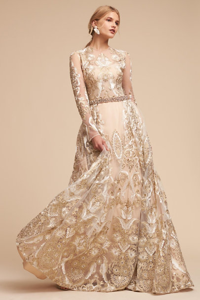 Marvel dress white gold in sale bhldn for Silver wedding dresses for sale