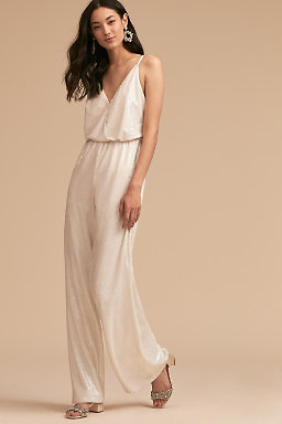 Wedding reception dresses little white dresses bhldn la lune jumpsuit junglespirit