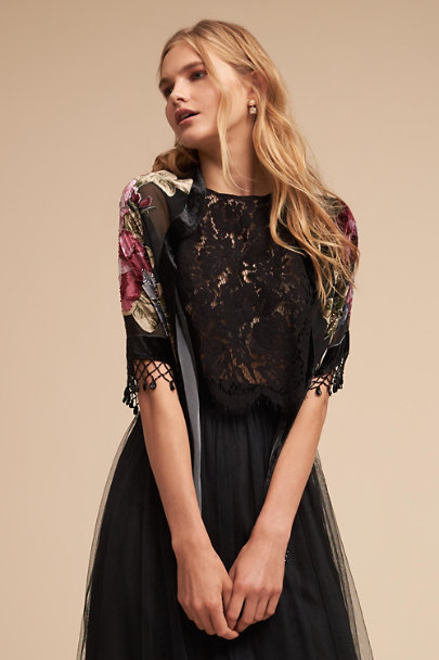 BHLDN Black Pavlova Burnout Velvet Wrap | BHLDN