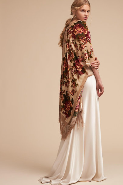 BHLDN Champagne Roberts Burnout Velvet Wrap | BHLDN