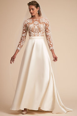 Long sleeve wedding dresses long cap sleeve bhldn serena ballgown serena ballgown junglespirit Choice Image