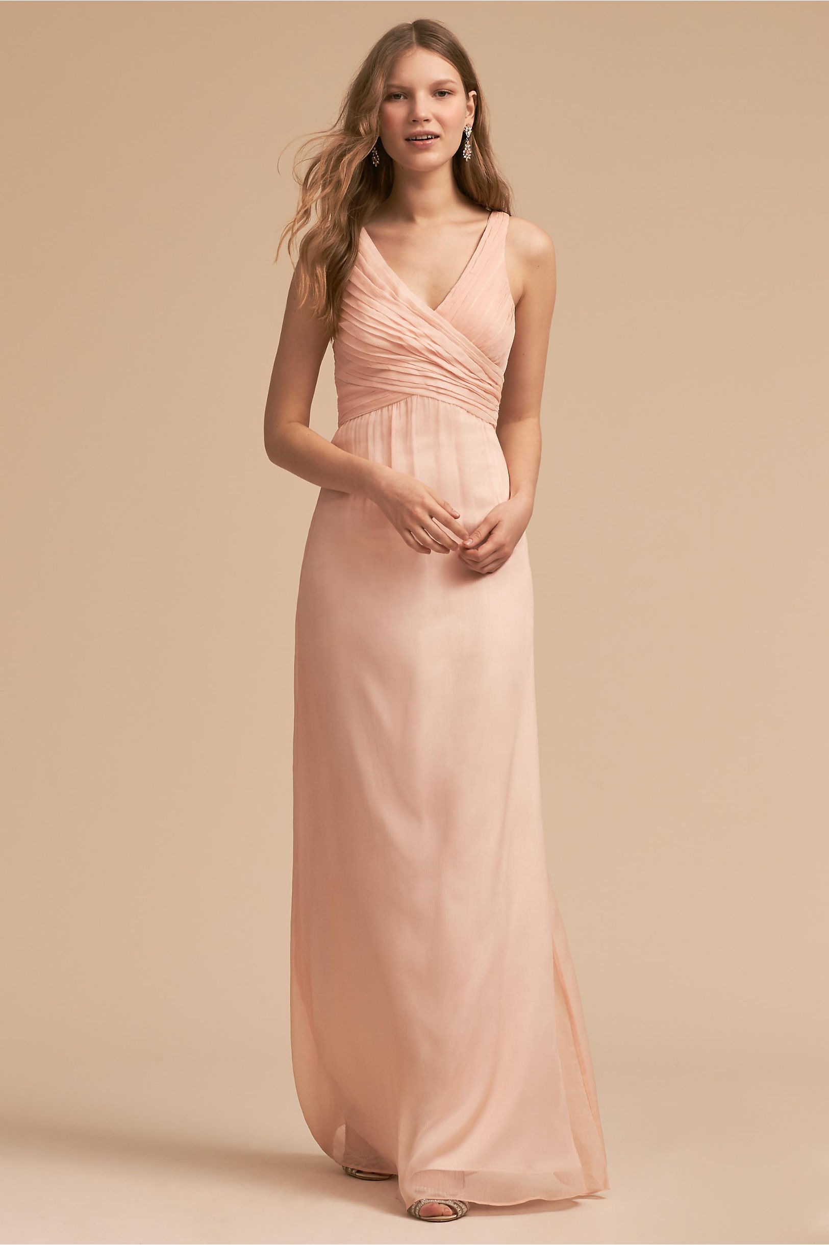 Blush colored light pink bridesmaid dresses bhldn angie dress ombrellifo Gallery