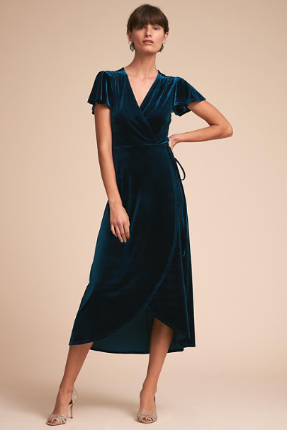 BHLDN Dark Teal Thrive Velvet Dress | BHLDN