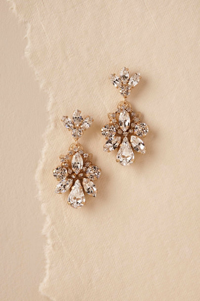 Elizabeth Bower Gold Gena Crystal Earrings | BHLDN
