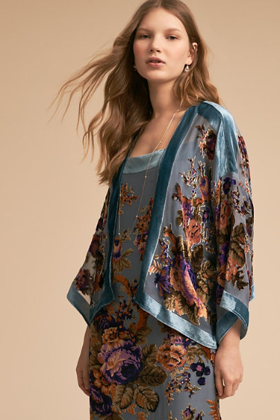 BHLDN Teal Floral Perry Burnout Velvet Jacket | BHLDN