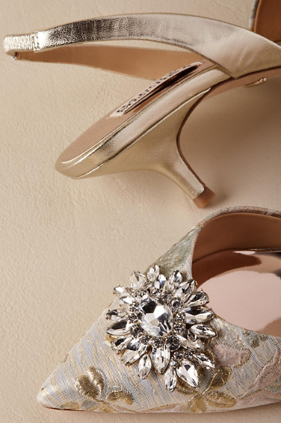 Badgley Mischka Taupe Salena Heels | BHLDN