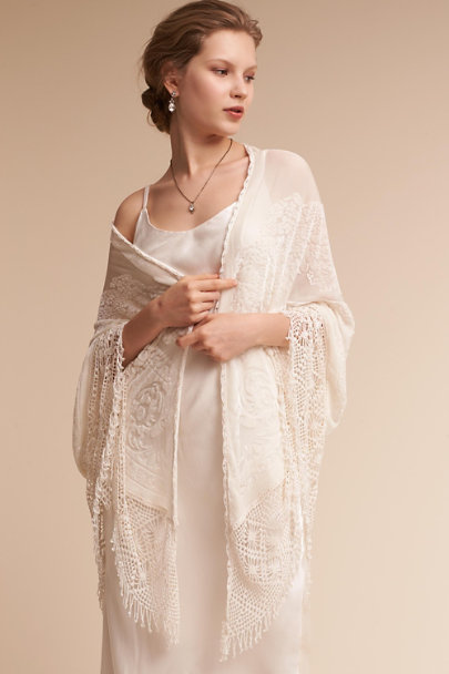 BHLDN Ivory Veranda Burnout Velvet Wrap | BHLDN