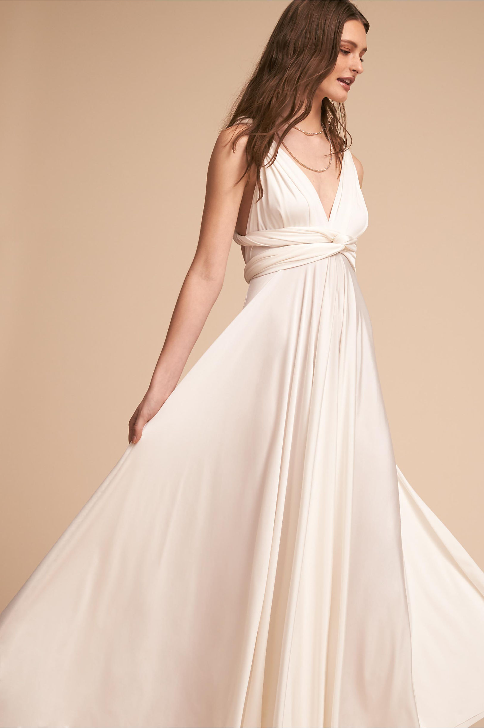 Ginger Convertible Maxi Dress White in Bride | BHLDN