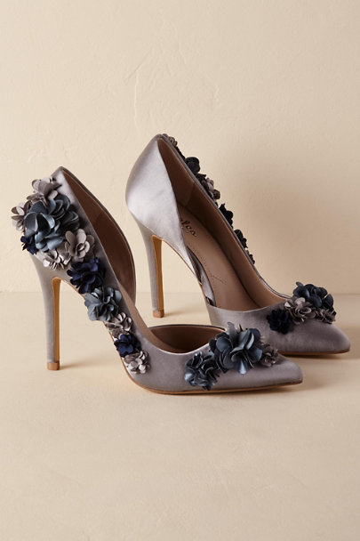 Dark Blue Flora Heels | BHLDN