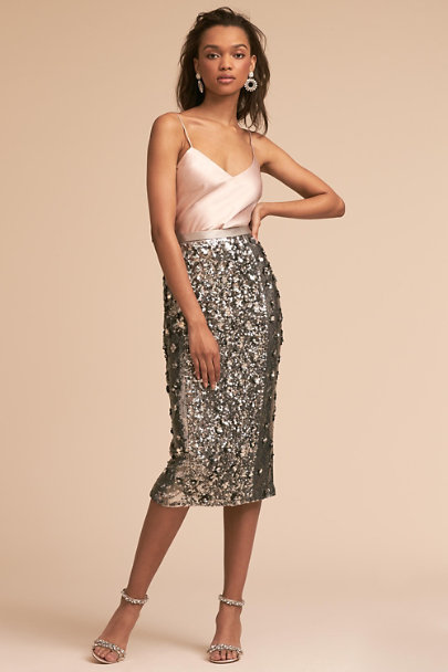 BHLDN Silver Cohen Skirt | BHLDN