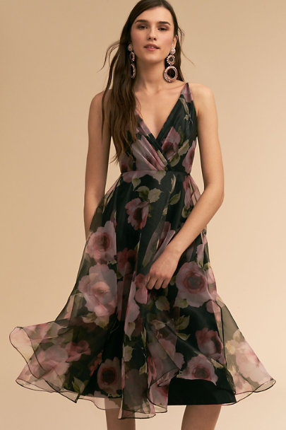 Jenny Yoo Black Floral Sabrina Dress | BHLDN