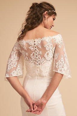 Wedding dress separates two piece bridal gowns bhldn for Long sleeve wedding dress topper