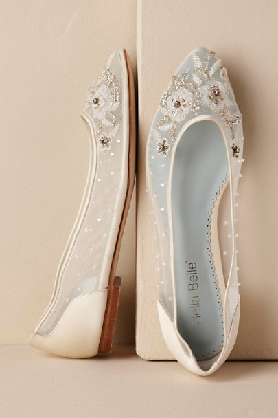 Bella Belle Ivory Adora Beaded Flat | BHLDN