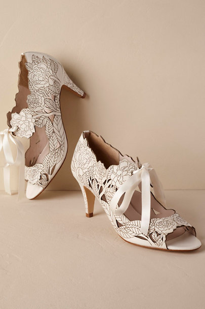 Harriet Wilde Ivory Peony Booties | BHLDN