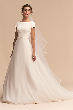 Long sleeve wedding dresses long cap sleeve bhldn crest gown crest gown junglespirit Gallery