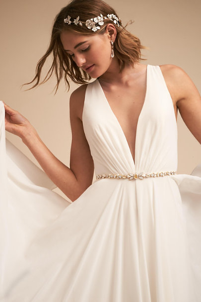 Hushed Commotion Gold Cecilia Sash | BHLDN