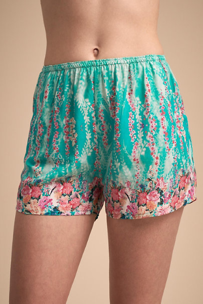Tolani Teal Morning Glory Shorts | BHLDN