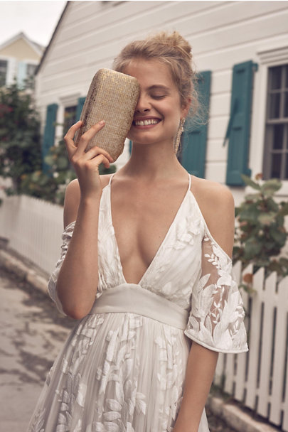 Kayu Gold Delphine Straw Clutch | BHLDN
