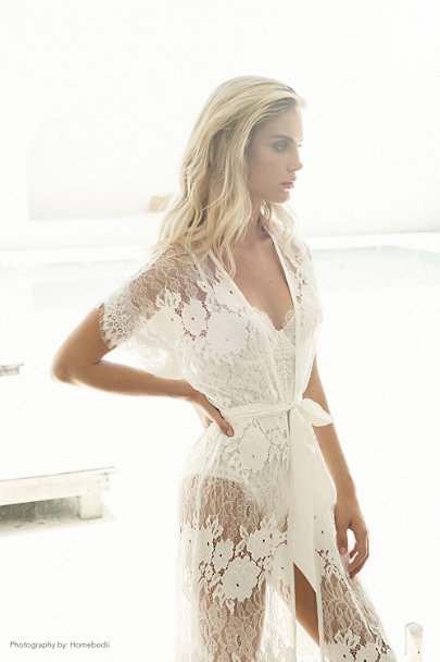 Homebodii Ivory Amira Robe | BHLDN
