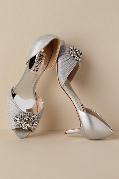 Badgley Mischka Silver Sabine Heels | BHLDN