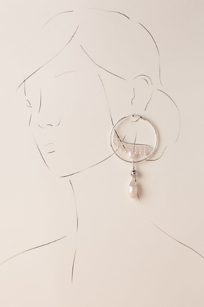 Silver Ziva Hoop Earrings | BHLDN