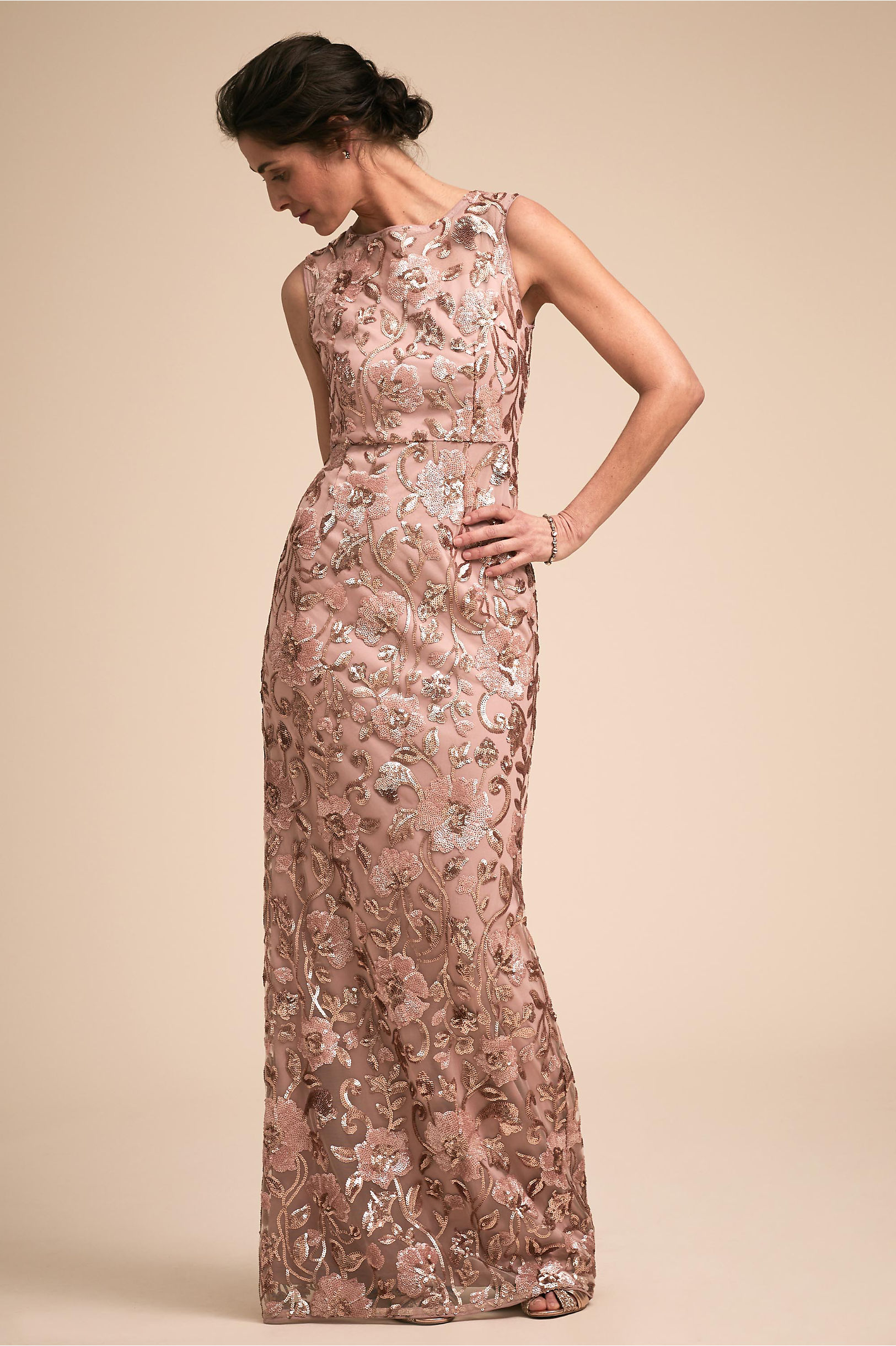Clarence Dress Rose Gold in Occasion Dresses | BHLDN