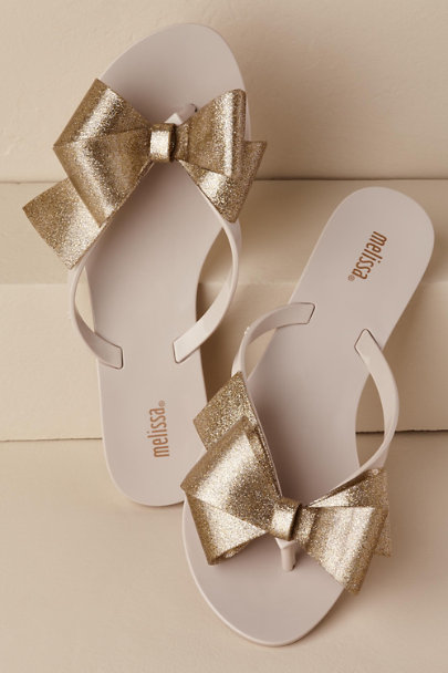 Melissa Shoes Beige Harmonic Bow Flip-Flop | BHLDN