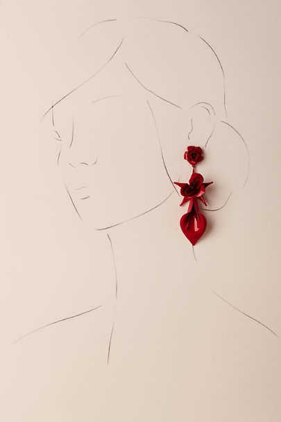 Jennifer Behr Red Novalee Drop Earrings | BHLDN