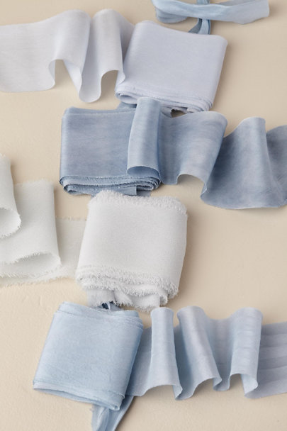 Feathers and Stone Blue Tones Shades Of Blue Ribbon Bundle | BHLDN