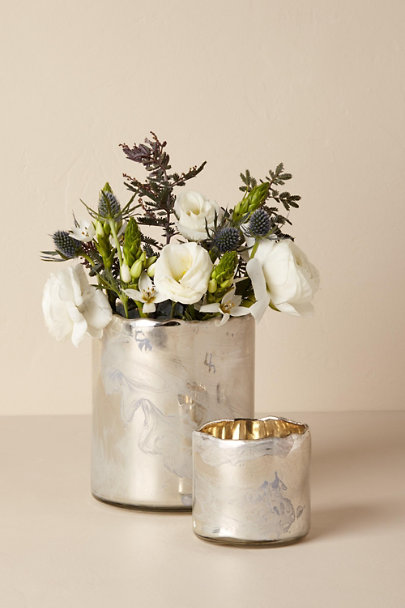 Light Grey Burnished Mercury Vase | BHLDN