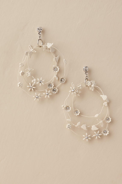 Paris by Debra Moreland White Arely Hoop Earring | BHLDN