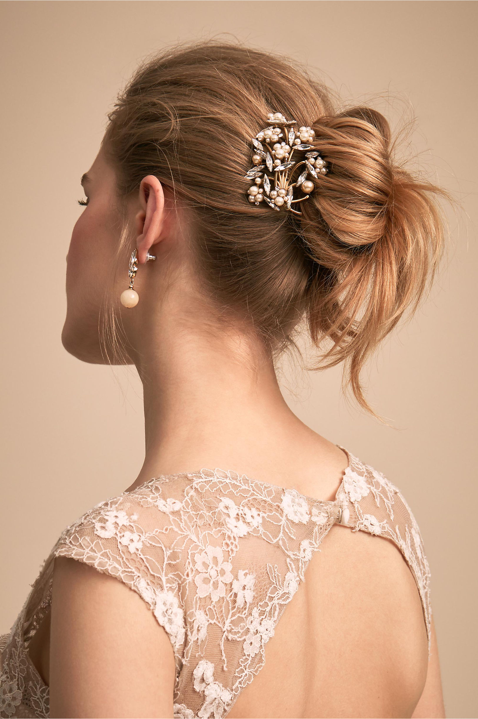 Marcelina Hair Comb Gold In New Bhldn