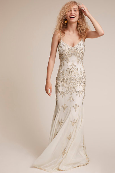 BHLDN Ivory Deco Dreams Gown | BHLDN