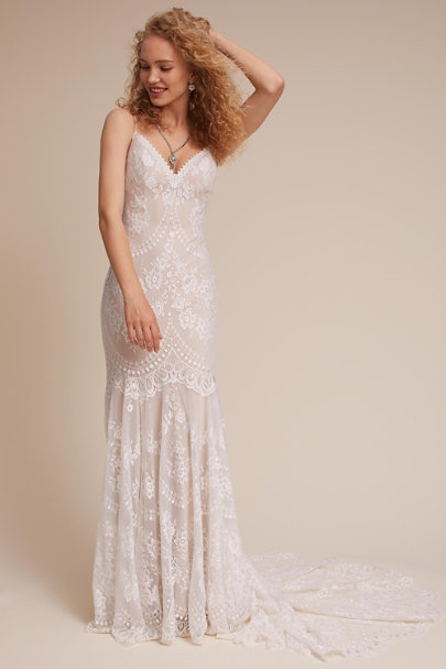 BHLDN Nude/Ivory Cascading Lace Gown | BHLDN