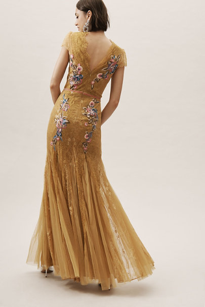 Marchesa Notte Gold Harkin Dress | BHLDN