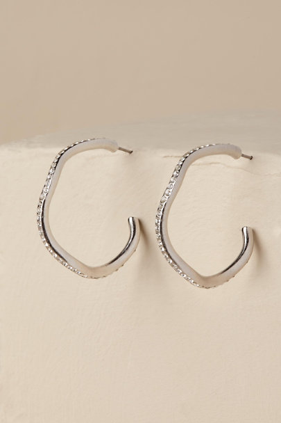 Kenneth Jay Lane Silver Gladis Hoop Earrings | BHLDN