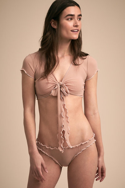 Only Hearts Nude Decima Ruffle Bottom | BHLDN