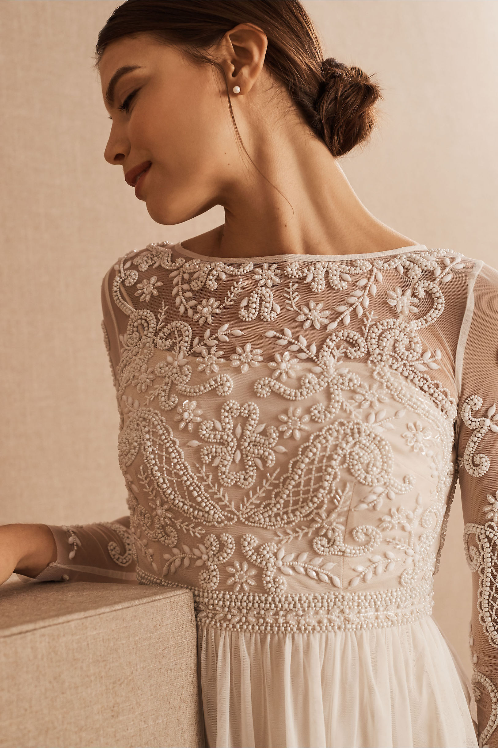 Sinclair Dress Ivory/Champagne in Bride | BHLDN