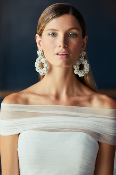St. Erasmus Silver Tain Hoop Earrings | BHLDN