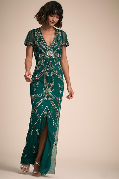 Aidan Mattox Dark Teal Fatima Dress | BHLDN