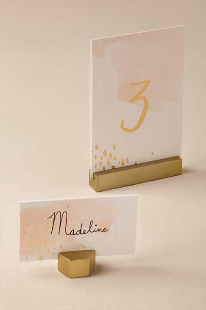 Gold Brass Block Card Holders | BHLDN