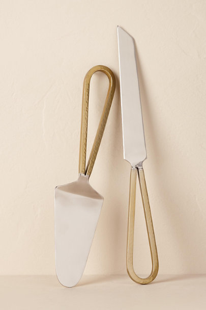 Gold Hammered Gold Cake Servers | BHLDN