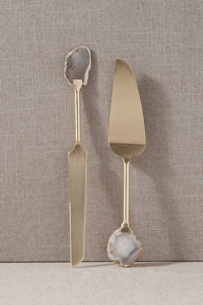 Classic Touch Gold Agate Cake Servers | BHLDN