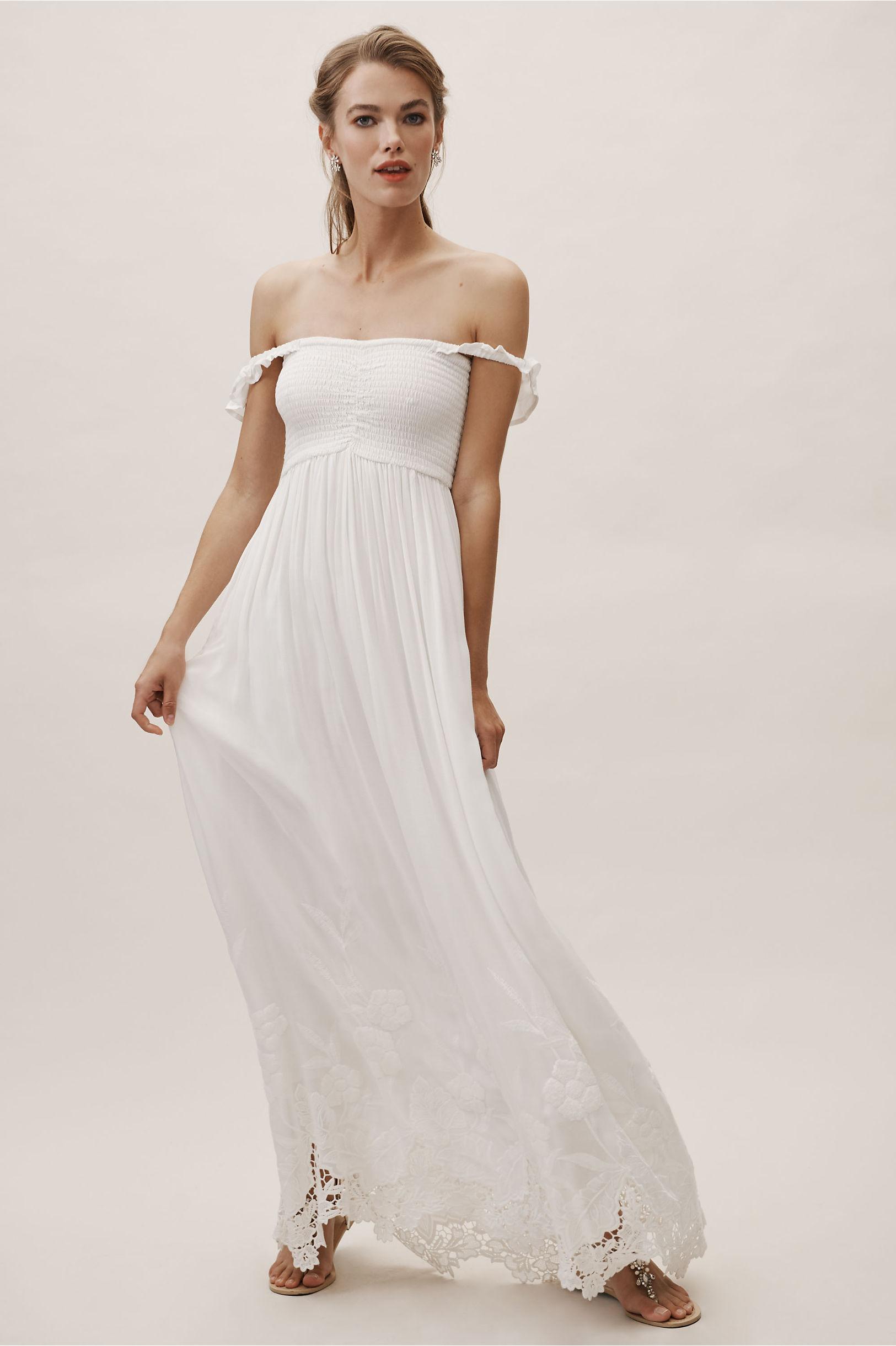 Vintage Inspired Wedding Dress | Vintage Style Wedding Dresses Honor Off-The-Shoulder Dress $150.00 AT vintagedancer.com