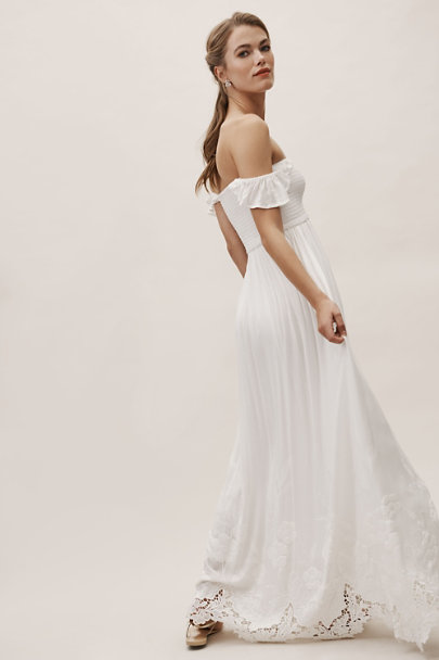 Plum Pretty Sugar Ivory Honor Off-The-Shoulder Dress | BHLDN