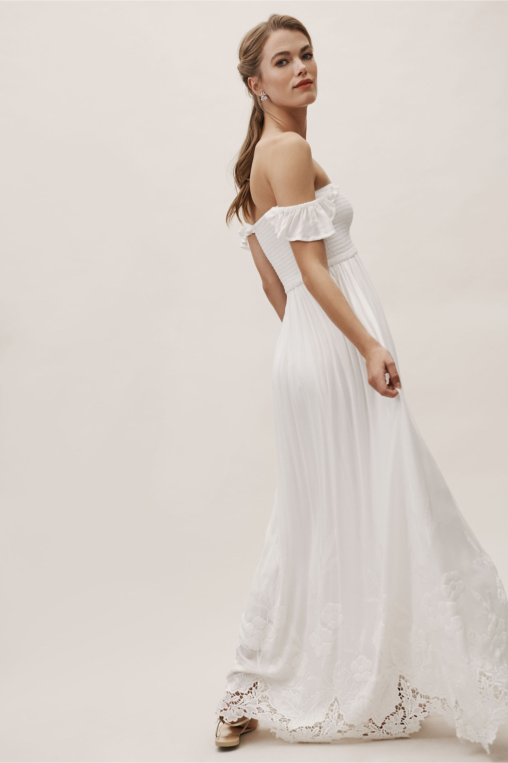 6db8e82401cba Plum Pretty Sugar Ivory Honor Off-The-Shoulder Dress