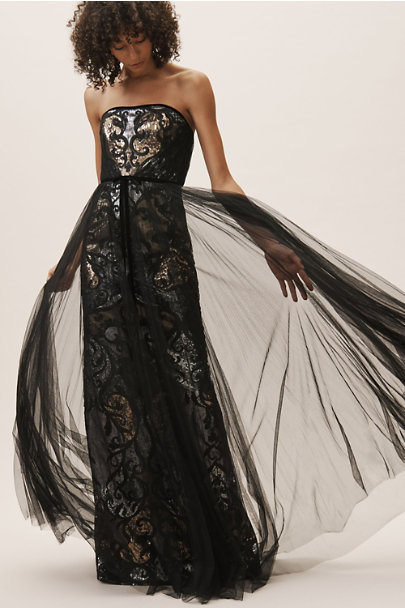 Marchesa Notte Black/Gold Jaclyn Dress | BHLDN