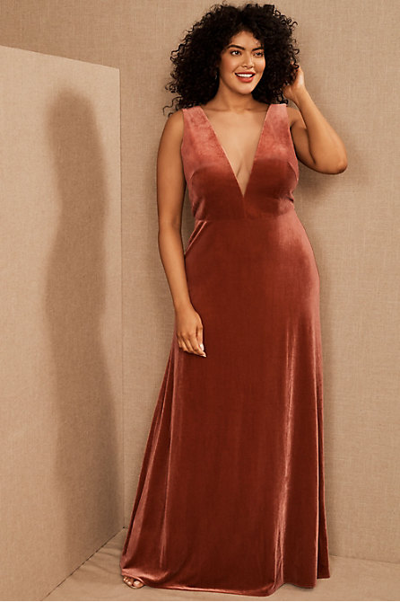 Jenny Yoo Logan Velvet Maxi Dress