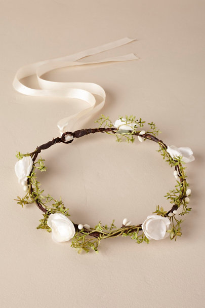 Ragga Weddings Green/Ivory Ivory Flower Crown | BHLDN